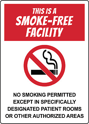 THIS IS A SMOKE-FREE FACILITY | Adhesive Vinyl Sign Decal