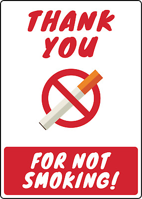 THANK YOU FOR NOT SMOKING | Adhesive Vinyl Sign Decal