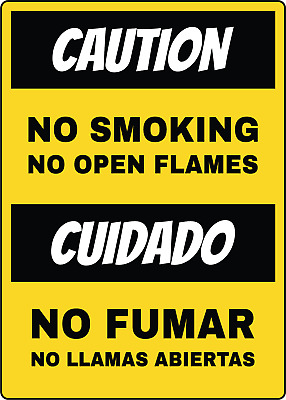 NO SMOKING OR OPEN FLAMES/NO FUMAR  | Adhesive Vinyl Sign Decal