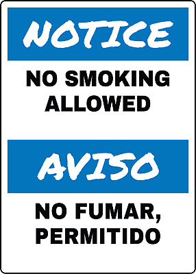 NOTICE/AVISO. NO SMOKING/NO FUMAR | Adhesive Vinyl Sign Decal
