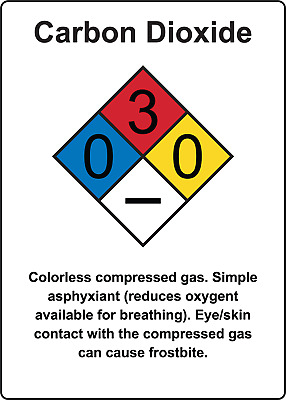 CARDON DIOXIDE WARNING SIGN | Adhesive Vinyl Sign Decal