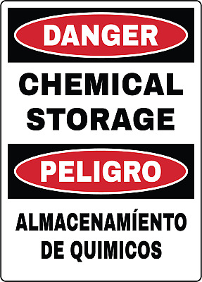 DANGER/PELIGRO, CHEMICAL STORAGE OSHA | Adhesive Vinyl Sign Decal