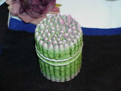 "Antique French Majolica Asparagus Covered Jar 4.25"" Dresser Vanity Box Porcelain"