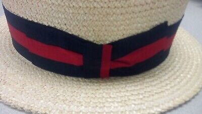 Ponte Rialto Hat 62 Size 7 3/4 Made in Italy L Skimmer Boater Straw
