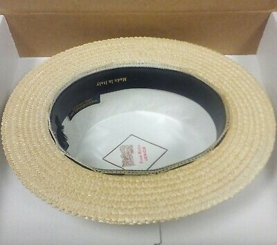 Ponte Rialto Hat 64 cm Size 8 Made in Italy XXL Skimmer Boater Straw NWOB