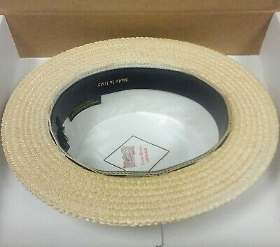 Ponte Rialto Hat 58 cm Size 7 1/8 Made in Italy L Skimmer Boater Straw NWB