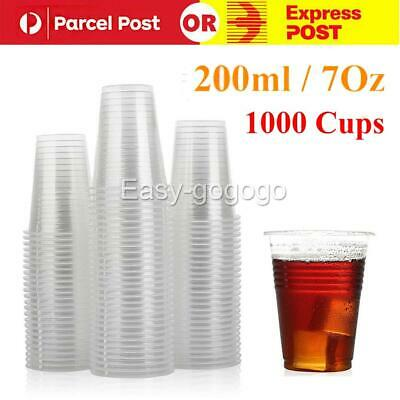 1000PCS Disposable Plastic Cups Clear Reusable Drinking Water Cup Party 200ml Q