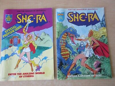 2 x She-Ra Comics - Preview issue No.1 & No.4 - 1986 - Mattel