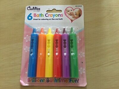 6 Coloured Crayons Bath Tiles Crayon Kids Paints Drawing Washable Fun Toy Pens