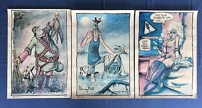 ** EXTREMELY RARE ** Set of 3 Footrot Flats Large Posters [1980's] - Murray Ball