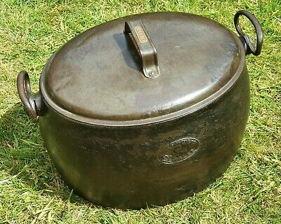 Lovely Old Vintage Cast Iron Baldwin 2½ Gal Gyspy Cooking Cook Pot with Lid