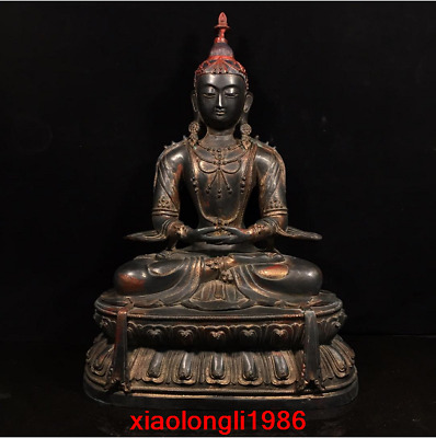 "20.4"" Old China Tibet antique Pure copper Buddha statue"
