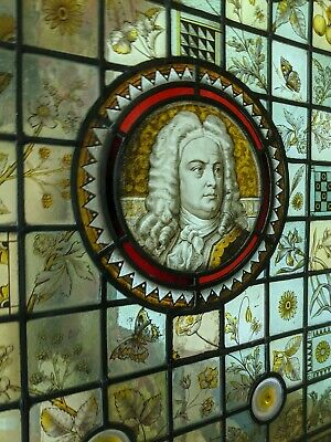 Large Stained Glass Window Panel Hand Painted Handel (composer) ORIGINAL ANTIQUE