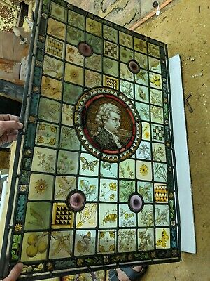 Large Stained Glass Window Panel Hand Painted Mozart (composer) ORIGINAL ANTIQUE