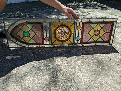 Pair Of Tall Arched Stained Glass Windows Perfect door panels ORIGINAL ANTIQUE