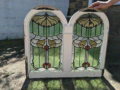 Pair Of Arched Stained Glass Windows in frame - ANTIQUE ORIGINAL