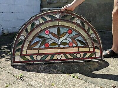 Beautiful Large Arched Stained Glass Window ORIGINAL ANTIQUE