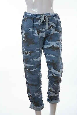 Plus Size Italian Lagenlook Army Camouflage Joggers Stretch Magic Trousers 16-22