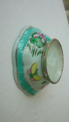 Antique Chinese porcelain footed lotus bowl blue yellow Ming or Qing dynasty