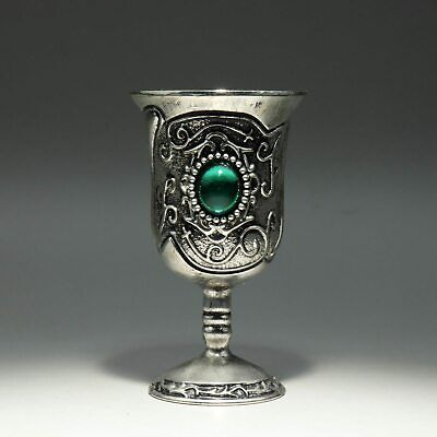 Collectable China Old Miao Silver Zircon Hand-Carve Bloomy Flower Noble Wine Cup