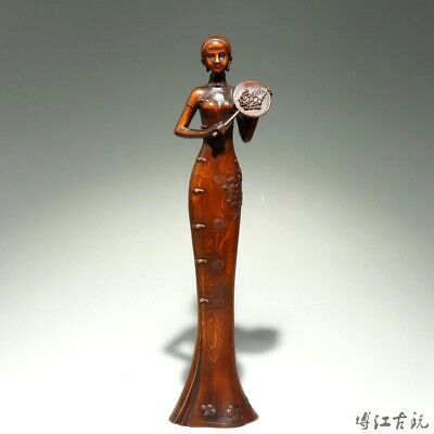 Collectable China Old Boxwood Hand-Carved Elegant Fairy Delicate Decorate Statue