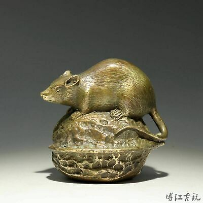 Collectable China Old Bronze Hand-Carved Mouse & Walnut Delicate Unique Statue