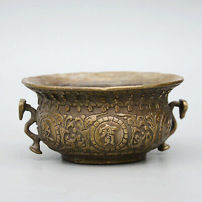 Collectable China Old Bronze Hand-Carve Bloomy Flower Delicate Bring Luck Censer