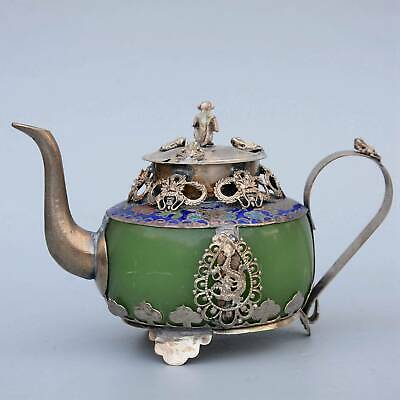 Collect Old Miao Silver & Cloisonne Armour Jade Carve Dragon & Monkey Tea Pot