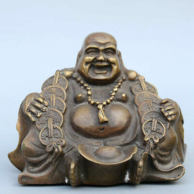 Collectable China Old Bronze Hand-Carved Happy Buddha & Wealth Bring Luck Statue