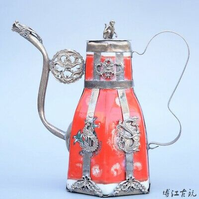 Collectable Old Miao Silver Armour Porcelain Carve Monkey & Dragon Luck Tea Pot