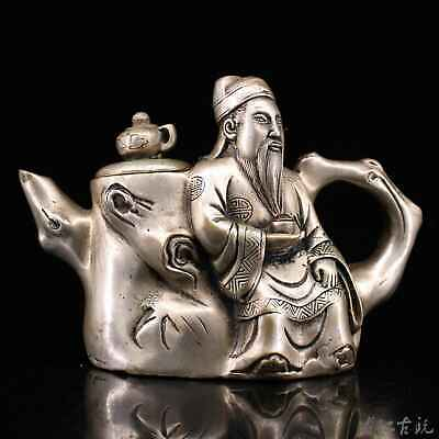 Collectable China Old Tibet Silver Hand-Carved Famous And Precious Figure Teapot