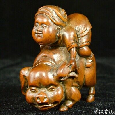 Collectable China Old Boxwood Hand-Carved Child Ride Pig Unique Amusing Statue
