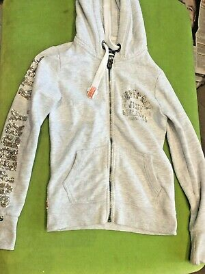 Superdry girls gold sequinned hoodie age approx 10/ XS