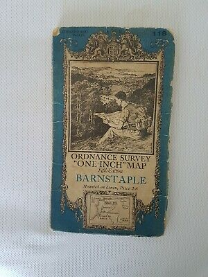 Old Linen Backed Ornance Survey Map Of Barnstaple .