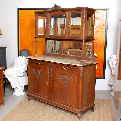 Antique French Marble Glazed Oak Dresser Buffet Display Cabinet 19th Century