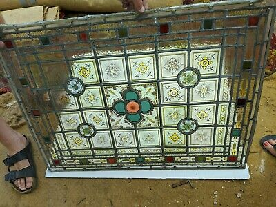 Large stained glass window panel Hand Painted With Central Green Flower ANTIQUE