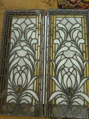 Pair Of Tall White flower (lotus?) Stained Glass Windows ANTIQUE ORIGINAL