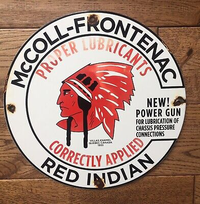 Red Indian McColl Frontenac Products Porcelain Oil Gas  Pump Plate