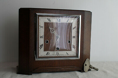 Smiths 1950s Westminster Chimes Art Deco Mantel Clock Working Key 8-Day