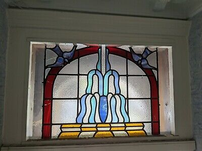 Large stained glass window or door panel with birds ANTIQUE ORIGINAL