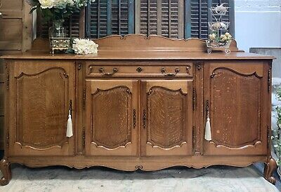 FANTASTIC QUALITY LOUIS XVI STYLE FRENCH CARVED OAK SIDEBOARD 225cm *DELIVERY*