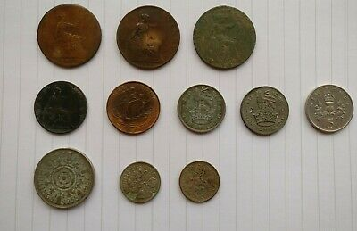 Bundle Old Coins British One 1 Penny 1892 Half Penny 1902