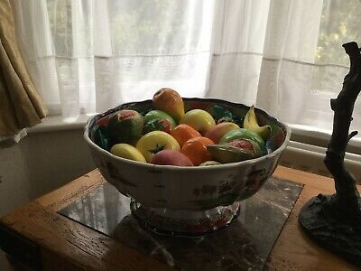 Large Antique Porcelain Fruit Bowl With porcelain Fruit