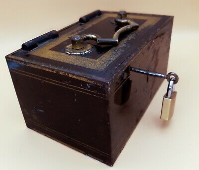 "Antique Retro J TANNS ""RELIANCE"" Cash Deeds Security Box With Key Steel Plate"