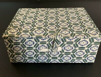 Super Cool Vintage Cloth Covered Green Chinese Trinket Box
