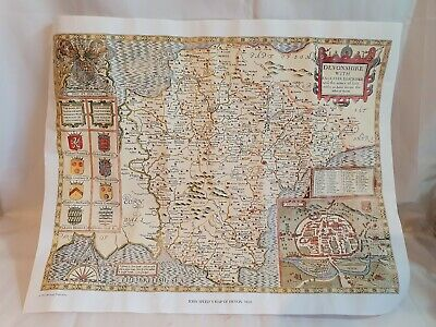 Devonshire Antique Reproduction Map John Speed 1610