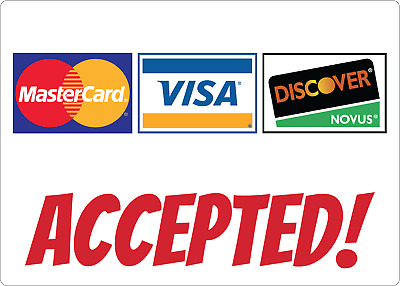 MASTERCARD/VISA CARDS ACCEPTED! STOREFRONT SIGN | Adhesive Vinyl Sign Decal