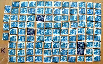 100x 2nd class LARGE LETTER STAMPS USED/UNFRANKED various types/unsoaked (K)