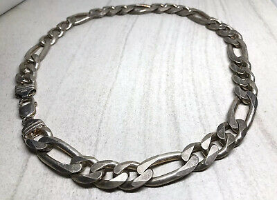 """Italy Sterling Silver Men's HEAVY 14MM Wide Figaro Link 20"""" Chain Necklace -158g"""