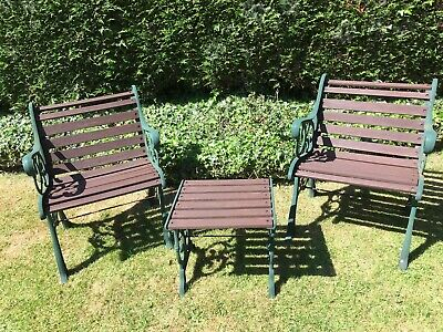Vintage Cast Iron Garden Furniture - 2 Chairs and a Small Drinks Table